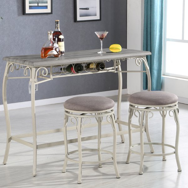 3 Piece White Pub Table Set | Wayfair.ca within Moorehead 3 Piece Counter Height Dining Sets