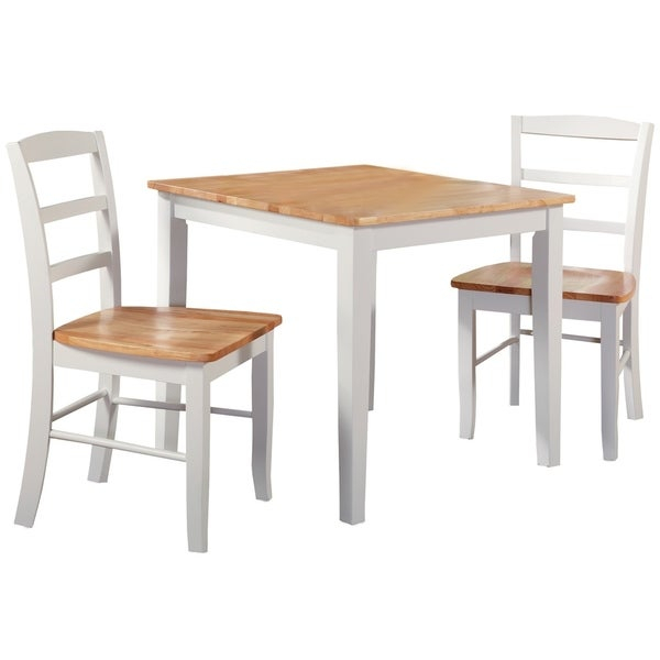30-Inch Square Natural/ White 3-Piece Dining Set within 3 Piece Dining Sets