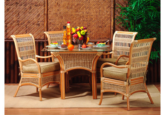 "5 Piece Fiji Rattan Dining Set 42"" Inside Calla 5 Piece Dining Sets (Image 1 of 25)"