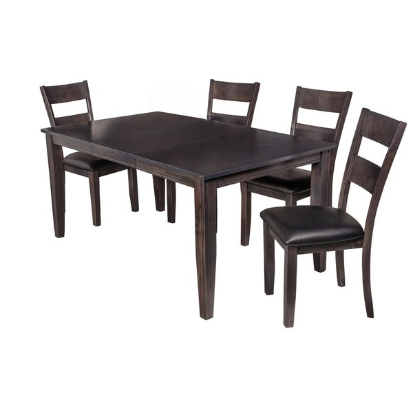 "5-Piece Solid Wood Dining Set ""aden"", Modern Kitchen Table Set, Dark Gray within Adan 5 Piece Solid Wood Dining Sets (Set Of 5)"