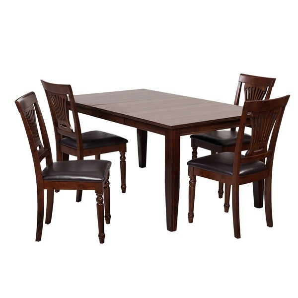 "5-Piece Solid Wood Dining Set ""aden"", Modern Kitchen Table Set, Espresso intended for Adan 5 Piece Solid Wood Dining Sets (Set Of 5)"