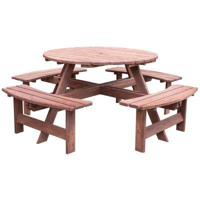8-Person Brown Round Wooden Outdoor Patio Deck Garden Picnic Table within Laconia 7 Pieces Solid Wood Dining Sets (Set Of 7)
