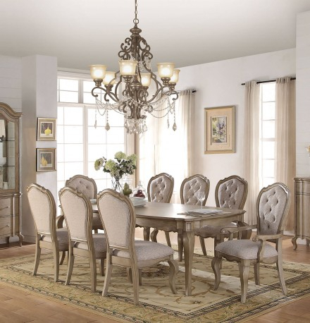 Acme Chelmsford 9Pc Dining Set In Antique Taupe Throughout Chelmsford 3 Piece Dining Sets (View 3 of 25)
