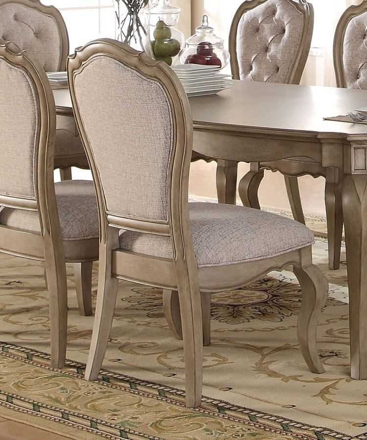 Acme Chelmsford Side Chair In Antique Taupe (Set Of 2) 66052 Pertaining To Chelmsford 3 Piece Dining Sets (View 7 of 25)