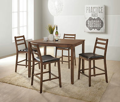 Acme Oswell 5 Piece Counter Height Set In Cream And Cherry Finish With Kernville 3 Piece Counter Height Dining Sets (Image 11 of 25)