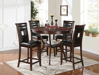 Acme Oswell 5 Piece Counter Height Set In Cream And Cherry Finish Within Kernville 3 Piece Counter Height Dining Sets (Image 13 of 25)