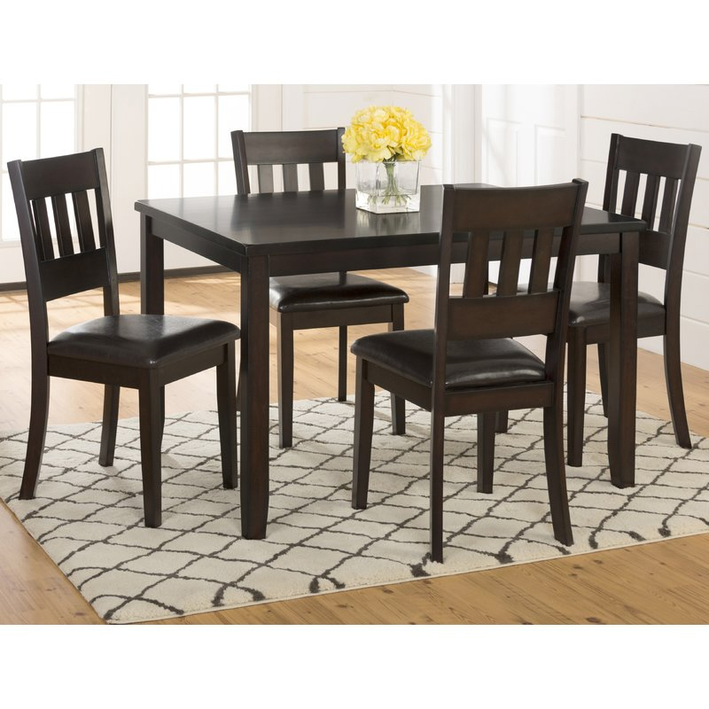 Featured Image of Adan 5 Piece Solid Wood Dining Sets (Set Of 5)