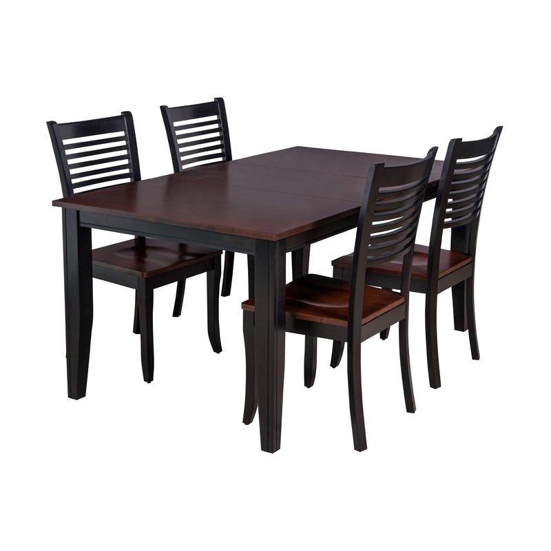 Aden 5 Piece Solid Wood Dining Set With Regard To Adan 5 Piece Solid Wood Dining Sets (Set Of 5) (Image 7 of 25)