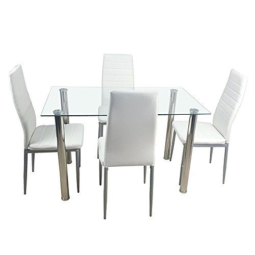 Adumly Set Of 5 Pieces Dining Table White Glass Table And 4 Chairs Within Sundberg 5 Piece Solid Wood Dining Sets (Image 1 of 25)