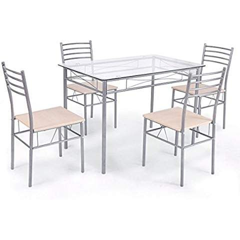 Ak Energy 5Pc Office Canteen Set Table And 4 Chairs Glass Top Inside Casiano 5 Piece Dining Sets (View 5 of 25)
