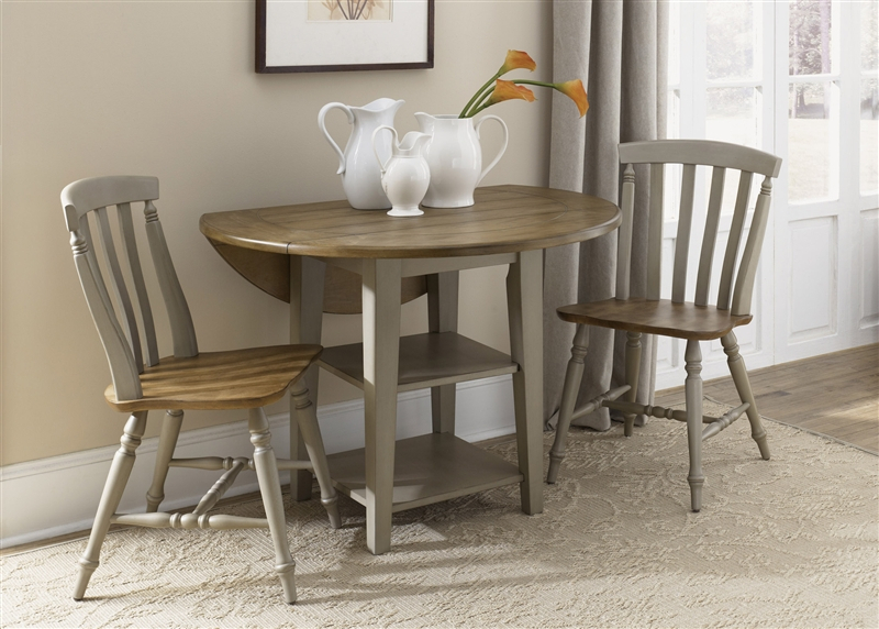 Al Fresco Drop Leaf Leg Table 3 Piece Dining Set In Driftwood & Taupe Finishliberty Furniture - 541-Cd-3Dls within 3 Piece Dining Sets
