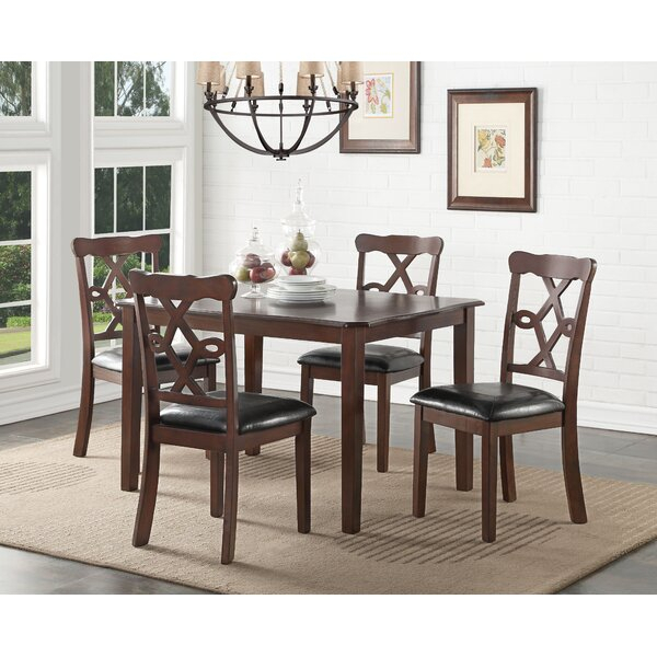 Almeida 5 Piece Extendable Solid Wood Dining Setcharlton Home Within Adan 5 Piece Solid Wood Dining Sets (Set Of 5) (Image 8 of 25)