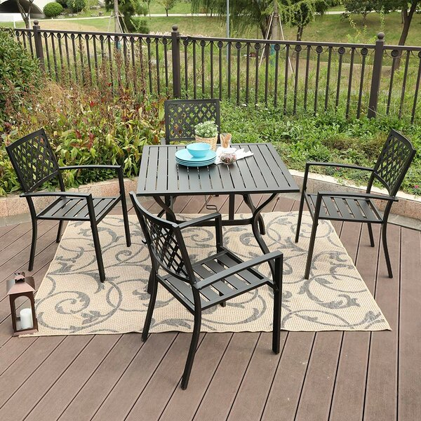 Amazing Caspian 5 Piece Teak Dining Setsol 72 Outdoor Spacial For Emmeline 5 Piece Breakfast Nook Dining Sets (View 16 of 25)