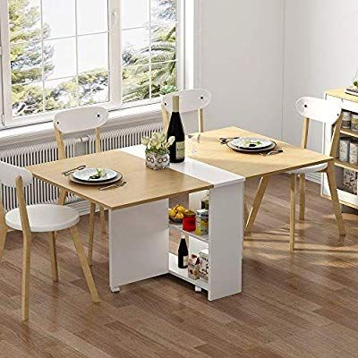 Amazon: Tribesigns Folding Dining Table, 6 Wheels Movable Dinner Within Taulbee 5 Piece Dining Sets (View 7 of 25)