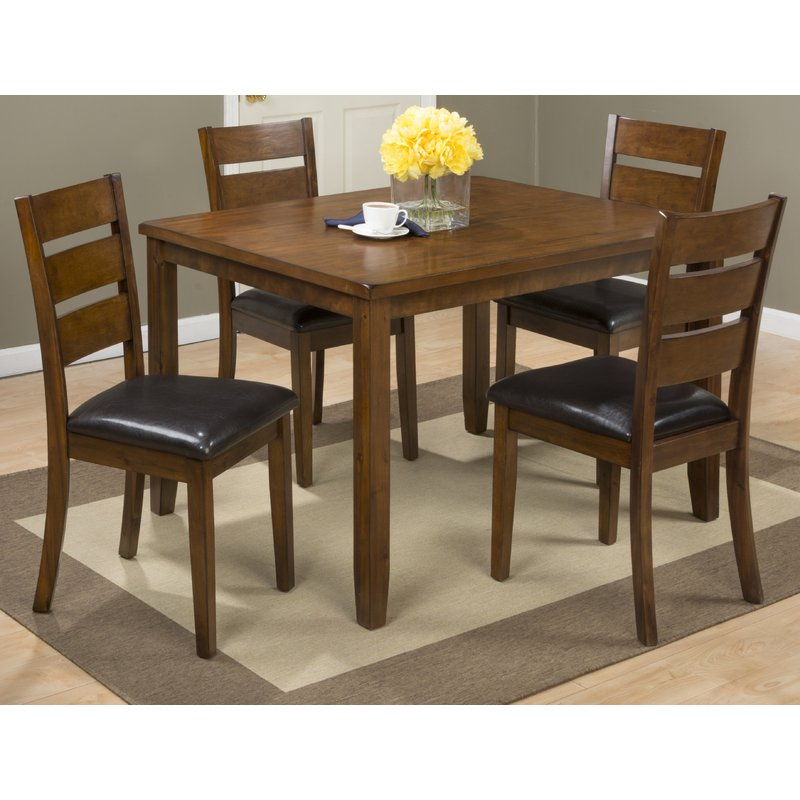 Amir 5 Piece Solid Wood Dining Set Intended For Hanska Wooden 5 Piece Counter Height Dining Table Sets (Set Of 5) (Image 2 of 25)