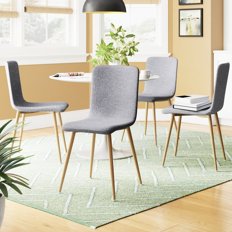 Amir Upholstered Dining Chair Intended For Amir 5 Piece Solid Wood Dining Sets (Set Of 5) (View 9 of 25)