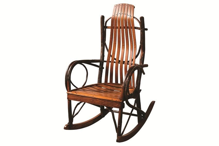 Amish Made Hickory Jumbo Porch Rocker | Log Cabin Built 1859 | Amish In Queener 5 Piece Dining Sets (Image 1 of 25)