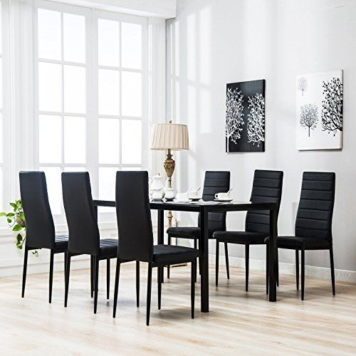 Ana Store Black Glass Supper Dinner Board Set Of 7 Piece Tempered Regarding Sundberg 5 Piece Solid Wood Dining Sets (Image 3 of 25)