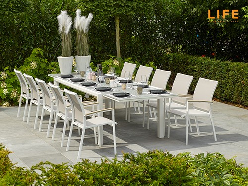 Anabel Dining Extendable Weiß – Life Outdoor Living Pertaining To Osterman 6 Piece Extendable Dining Sets (Set Of 6) (View 22 of 25)
