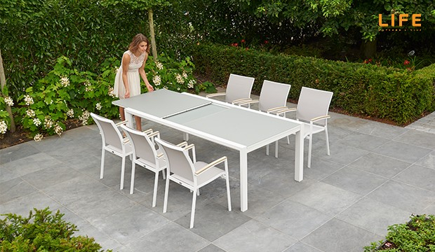 Anabel Dining Extendable Weiß – Life Outdoor Living Regarding Osterman 6 Piece Extendable Dining Sets (Set Of 6) (View 17 of 25)