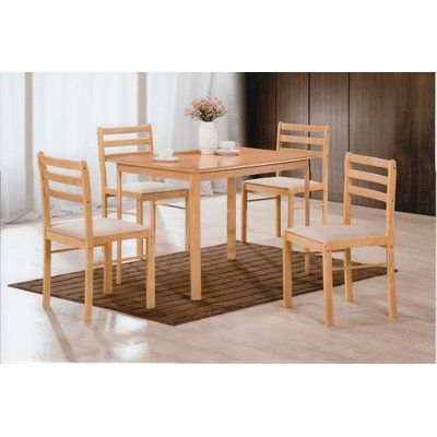 Andover Mills Sussex 5 Piece Dining Set Finish: Beech | Products Pertaining To Ganya 5 Piece Dining Sets (Image 2 of 25)