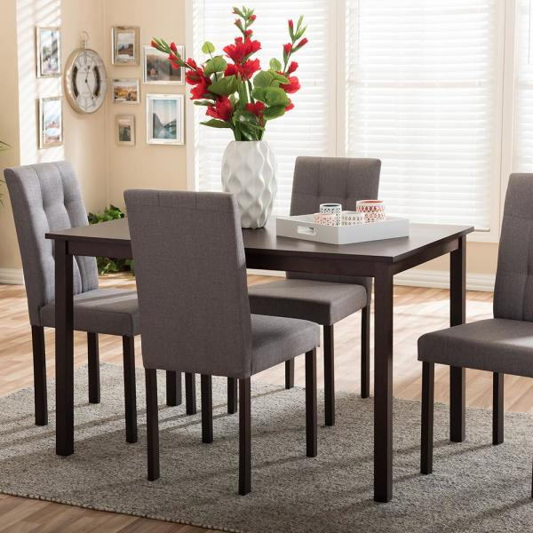 Andrew 9 Grids 5 Piece Gray Fabric Upholstered Dining Set With Regard To Bedfo 3 Piece Dining Sets (View 9 of 25)