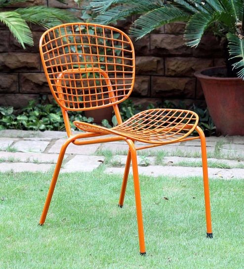 Annette Metal Chair In Orange Colourbohemiana Within Anette 3 Piece Counter Height Dining Sets (Image 3 of 25)