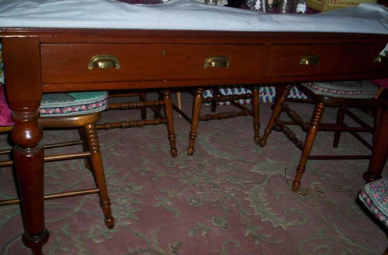Antique Cedar Railway Two Drawer Turned Leg Table | Antiques Inside Shepparton Vintage 3 Piece Dining Sets (View 19 of 25)