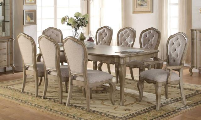 Antique Taupe Dining Room Set 7 Pcs Classic Acme Furniture 66050 Chelmsford Inside Chelmsford 3 Piece Dining Sets (Image 5 of 25)