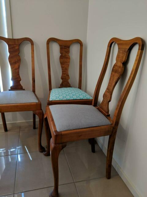 Antique Walnut Dining Chairs, Queen Anne Style, 3 Available | Antiques Within Shepparton Vintage 3 Piece Dining Sets (Image 3 of 25)