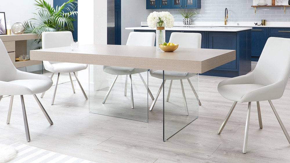 Aria Grey Oak And Glass Dining Table Pertaining To Aria 5 Piece Dining Sets (View 14 of 25)