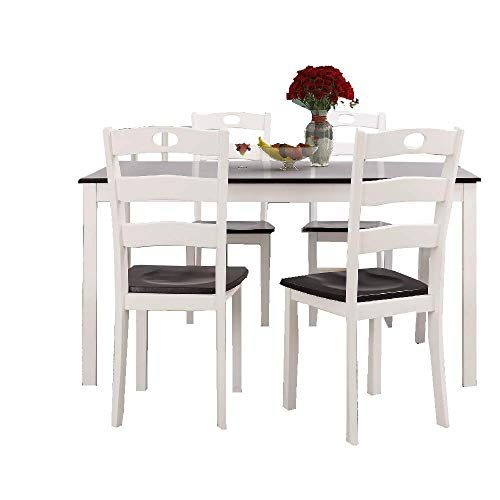 Ats 5 Pc Dining Table Set Modern White Wood Dinner Chair Indoor With Regard To Sundberg 5 Piece Solid Wood Dining Sets (Image 4 of 25)