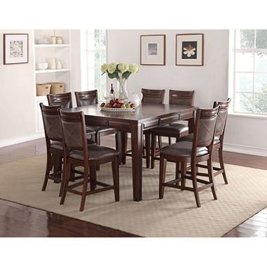 Audrey Counter Height Table And Chairs, 9 Piece Dining Set | Dining Inside Hood Canal 3 Piece Dining Sets (Image 3 of 25)