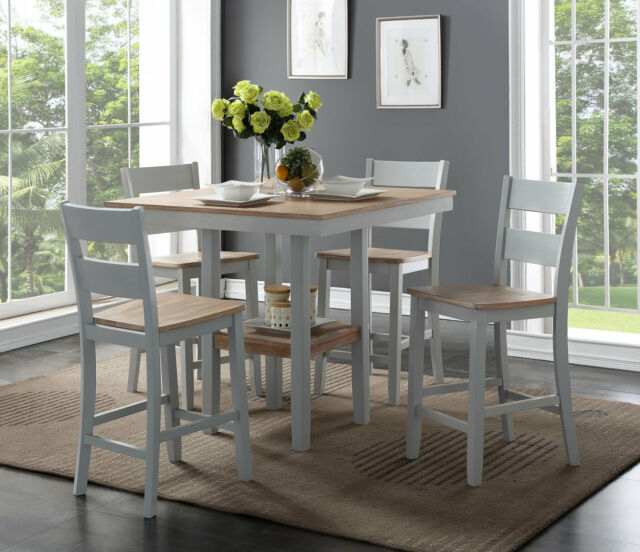 August Grove Liesel Counter 5 Piece Breakfast Nook Solid Wood Dining Set With Regard To 5 Piece Breakfast Nook Dining Sets (Image 3 of 25)