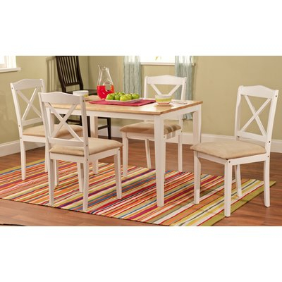 August Grove Scarlett 5 Piece Dining Set Color: White In 2019 Throughout Sundberg 5 Piece Solid Wood Dining Sets (Image 5 of 25)