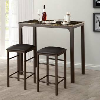 August Grove Tenney 3 Piece Counter Height Dining Set & Reviews In Tenney 3 Piece Counter Height Dining Sets (Image 2 of 25)