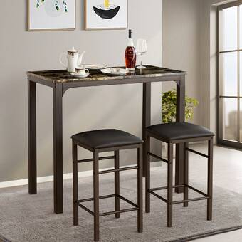 August Grove Tenney 3 Piece Counter Height Dining Set & Reviews In Tenney 3 Piece Counter Height Dining Sets (View 4 of 25)