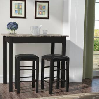 August Grove Tenney 3 Piece Counter Height Dining Set & Reviews Inside Tenney 3 Piece Counter Height Dining Sets (Image 3 of 25)