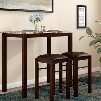 August Grove Tenney 3 Piece Counter Height Dining Set & Reviews With Tenney 3 Piece Counter Height Dining Sets (Image 6 of 25)