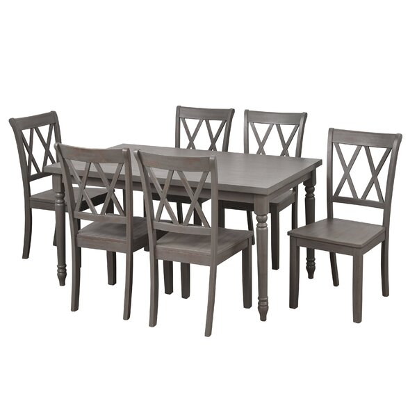 Bargain Kristopher 7 Piece Dining Setophelia & Co (View 21 of 25)