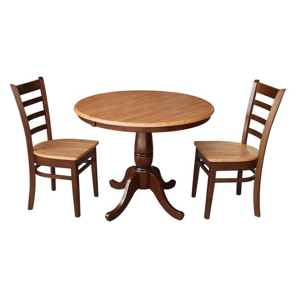 Bargain Petra Traditional Extendable Pedestal 3 Piece Solid Wood Throughout Bedfo 3 Piece Dining Sets (View 17 of 25)