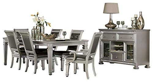 Batavia Hollywood Glam 8Pc Dining Set Table, 2 Arm, 4 Side Chair Throughout Ephraim 5 Piece Dining Sets (Image 3 of 25)