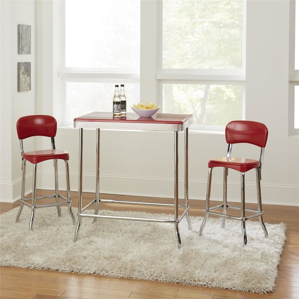 Featured Photo of Bate Red Retro 3 Piece Dining Sets