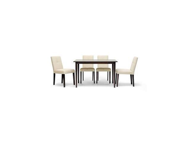 Baxton Studio Elsa Brown Wood 5 Piece Modern Dining Set, Dark Brown –  Wi3585Wi37564 – Newegg Regarding Cargo 5 Piece Dining Sets (Image 2 of 25)