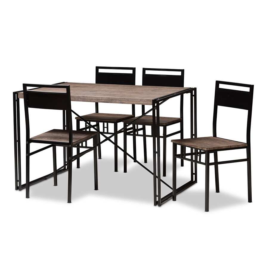 Baxton Studio Mamaine Light Brown Dining Set In 2019 | Products Throughout Winsted 4 Piece Counter Height Dining Sets (Image 3 of 25)