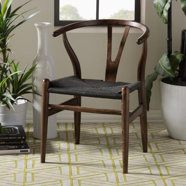 Baxton Studio Wishbone Mid Century 2 Piece Dark Brown And Black Wood For Evellen 5 Piece Solid Wood Dining Sets (Set Of 5) (View 12 of 25)