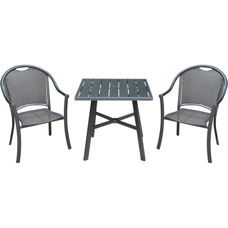 Bearden 3 Piece Commercial Grade Patio Set With 2 Woven Dining Chairs And A  30 In (Image 6 of 25)