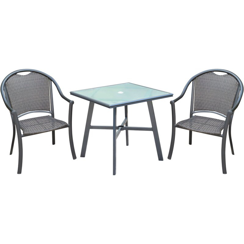 Bearden 3 Piece Commercial Grade Patio Set With 2 Woven Dining Chairs And A  30 In (Image 8 of 25)