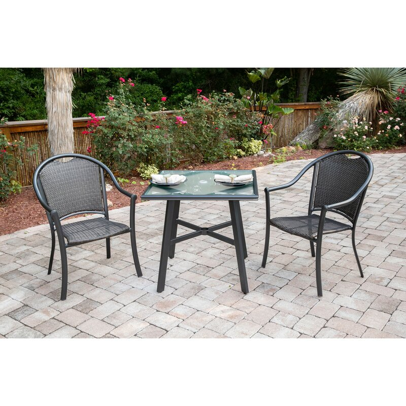 Bearden 3 Piece Commercial Grade Patio Set With 2 Woven Dining Chairs And A  30 In (Image 10 of 25)
