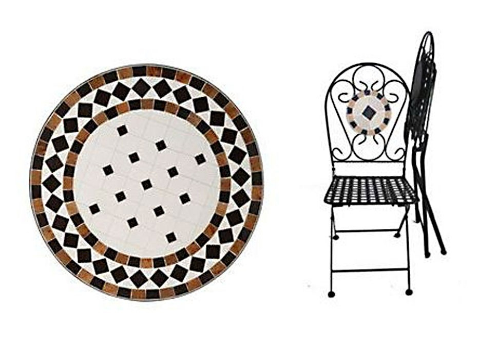 Bedfordshire 5 Piece Mosaic & Steel Garden Table & Chair Patio Set Inside Bedfo 3 Piece Dining Sets (View 14 of 25)